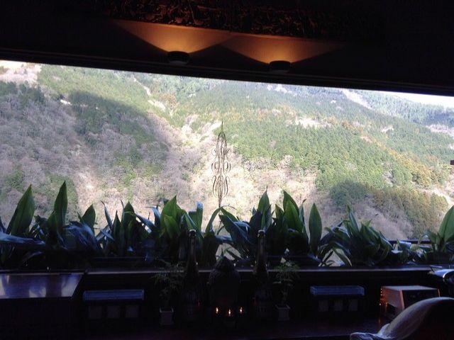 カウンターからも箱根の山々を一望できます!
