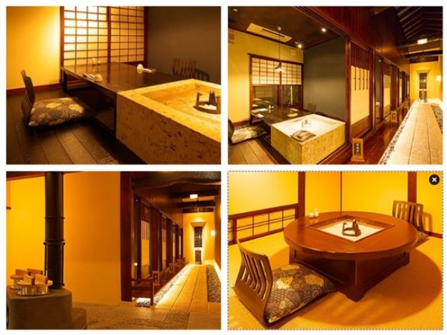 お客様のお食事処には囲炉裏があります♪とても雰囲気のある旅館ですよ〜!