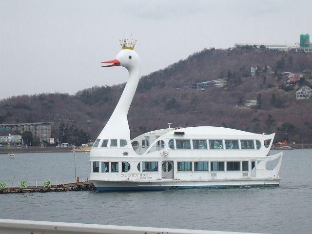 山中湖を周遊する白鳥丸?乗ってね!