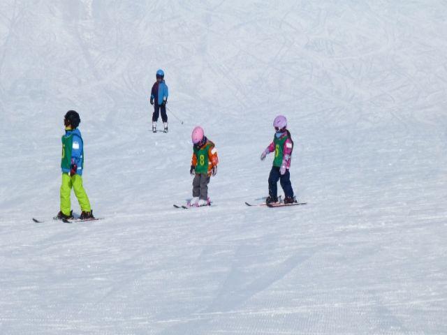 小学生へのスキーの滑り方をレクチャーしてもらいます♪