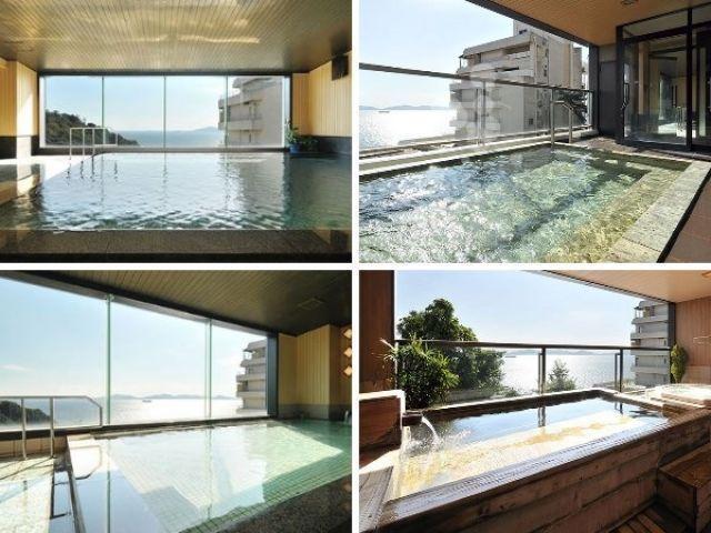 お風呂は館内温泉入浴可♪ 海を眺めながらの温泉、癒されますよ〜!