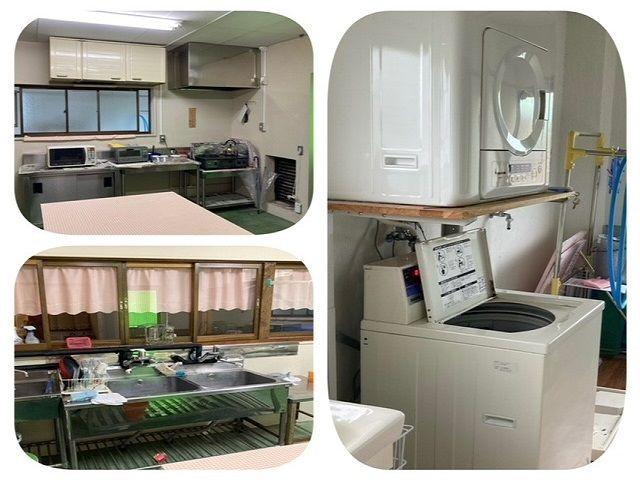 寮の共同スペースです! 電子レンジ、トースター・洗濯機など必要なものは揃ってますよ♪